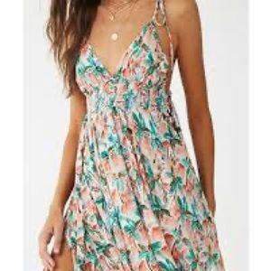 Forever 21 floral print maxi dress L NWT